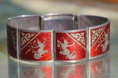 Vintage Siam Sterling Red Guillouche Enamel Siamese Dancer Link Bracelet