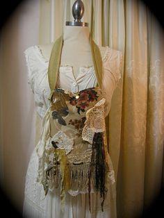 Fringe Цыганский сумка, ткани ручной работы сумки, салфетка кружева потертый коттедж украшен МАЛЫЙ