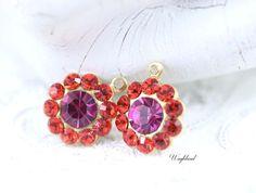 Light Siam & Fuchsia Swarovski Rhinestone Flower Drops Dangles Earring Findings 13mm - 2