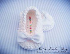 Ganchillo blanco botines del bebé, bautizo, bautismo, Blanco Bow Crochet botines, la niña de los botines