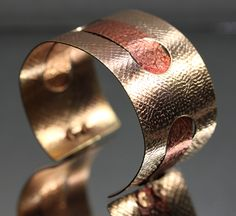 Textured Brass and Copper Cuff by IronMountainArts on Etsy