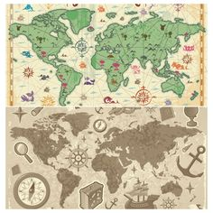 set of vector old map templates for your trave vacation related designs backgrounds posters or brochures description keywords vintage world map travel