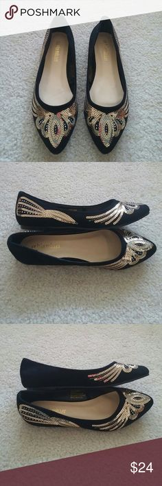 "Olivia Miller Sequined Ballet Flats Olivia Miller ""Eva"" Sequined Pointy Toe Ballet Flats. Black suede with gold sequins. Size 7M. Never worn. Olivia Miller Shoes Flats & Loafers"