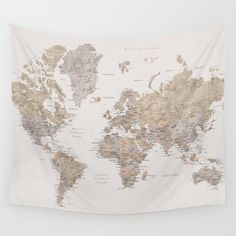 World map with cities in brown and light gray watercolor