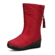 1fe5d1684 New Women Winter Keep Warm Thickening Fashion Wedge Down Feather Snow Boot  Mid-calf Boots