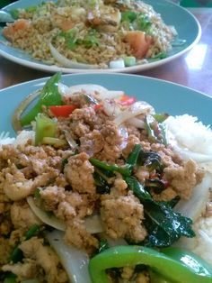 Pad kra pow and shrimp paste fried rice extra spicy! Yum! (^_^)
