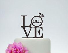 Amo de la torta, torta de bodas, amor cumpleaños con adorno de torta personalizados, decoración de la boda, fecha, compromiso torta Topper P091