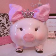 For Lilah Princess piggy bank Pink Cadillac, Pink Power, My Favorite Color, My Favorite Things, This Little Piggy, Pink Room, Everything Pink, Pink Princess, Color Rosa