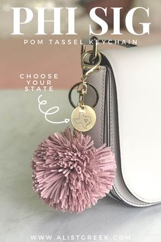 This soft suede pom tassel keychain makes the perfect accessory for any Phi Sigma Sigma. Shop all tassel color and design options at www.alistgreek.com! #sorority#sororitylife #sororitysisters #tassel #pom #keychain#charm #biglittlegifts #gogreek #greeklife #sororitygifts #srat #greekletters #state #custom #phisigmasigma #phisig
