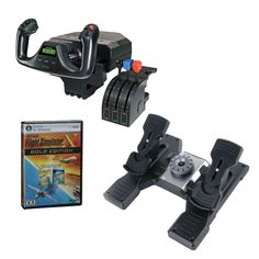Here's a great home flight simulator package. Buy the yoke, throttle, rudder pedals and Microsoft Flight Sim X and save. Only $289.98