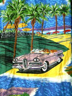 46047baa REYN SPOONER Mens Hawaiian Shirt LARGE Vintage Cars Trucks Hot Rods  Hollywood LA   eBay
