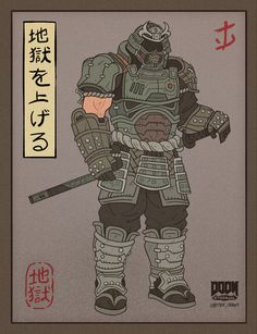 Series of Japanese-themed iterations of the characters present in DOOM Eternal by id Software Game Character, Character Concept, King's Quest, Doom Demons, Doom Game, Slayer Meme, Samurai Art, Armor Concept, Goblin