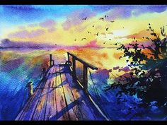 """Watercolor painting """"Sunset"""" - YouTube"""