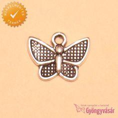 Ezüstszínű, kis pillangó - nikkelmentes fém fityegő