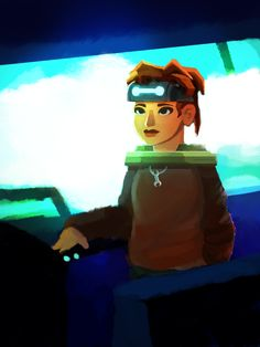 Concept art / Galactic Echoes character Ayumi Ito leaving behind Milky Way in Galactic Echoes Episode 2. The epic puzzle game continues in a new galaxy.