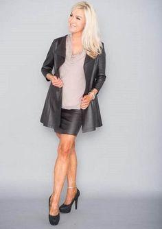 Tekstiilinahkainen pitkä jakku Musta