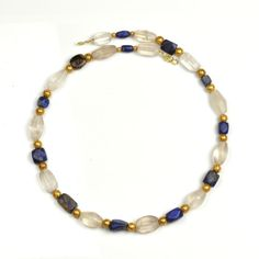 Western Asiatic Lapis Lazuli, Gold and Rock Crystal Necklace, Persian Period, 1st ML BC