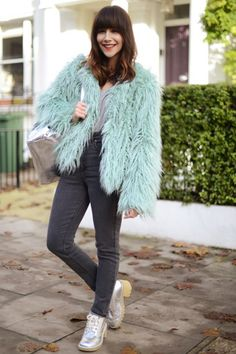 ASOS Personal Stylist Megan wears a shaggy faux frur coat and skinny jeans #AW14 #streetstyle #inspiration