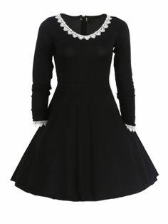 kup Koronkowa hem długi rękaw czarna sukienka linia & Sukienki - w Jollychic