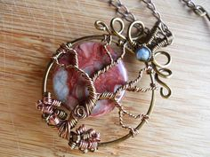 Tree of Life Pendant Red Brecciated Jasper and by OurFrontYard