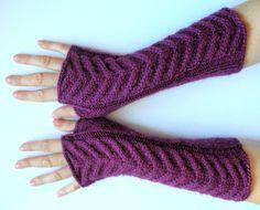 Long Fingerless Gloves Purple Violet 11 Arm Warmers by Initasworks