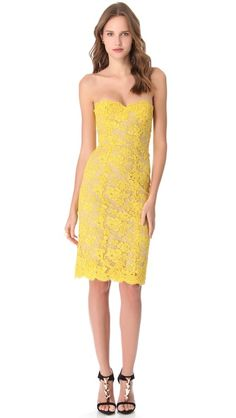 Reem Acra Strapless Cocktail Dress
