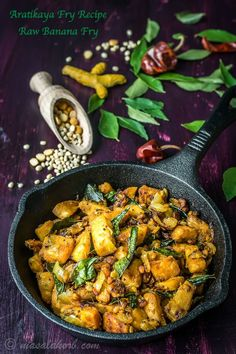 Aratikaya Fry Recipe/Aratikaya Vepudu is a simple stir fry with a few aromatic spices. A perfect side dish to rice along with sambar, rasam or yoghurt rice. Banana Recipes Indian, Indian Veg Recipes, Ethnic Recipes, Gujarati Recipes, Vegetarian Stir Fry, Vegetarian Appetizers, Vegetarian Recipes, Yummy Recipes, Raw Banana