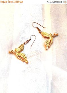 SALE 20% OFF Vintage Fairy Earrings Estate Jewelry 1970s Gold Fairies Bearing Pearl Gifts