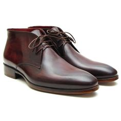 Handmade Plain Toe Chukka Boots for Men Bordeaux & brown hand-painted calfskin upper Antique burnished leather sole Bordeaux leather lining and inner sole Leather wrapped laces This is a made-to-order product. Please allow 15 days for the delivery. Because our products are hand-painted and couture-level creations, each item will have a unique hue and polish, and color may differ slightly from the picture. Color: As Per Description Material: Calfskin Item Fit / Dimensions: As per size guide Made  Burgundy Boots, Brown Boots, Men's Shoes, Shoe Boots, Dress Shoes, Men Boots, Leather Chukka Boots, Leather Shoes, Moda Fashion
