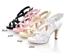 $ 13.00 Women Synthetic Leather Ankle Strap High Heel Sandals