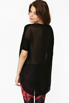 Sheer Back Tee in Black