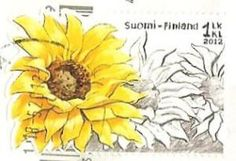 A Postcard a Day: Yellow stamps from Finland