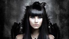Gothic Girl And Birds Face Dark Poe Vampire Raven Crow Women Females Girls   Wallpaper