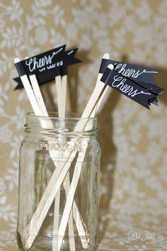 50 Black Paper Flag Stir Sticks or Drink by dillpicklepicnic, $14.00