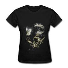 Pas cher Remise à manches courtes femmes t shirt voler papillons animaux impression T Shirts pour femme 2014, Acheter  T-shirts de qualité directement des fournisseurs de Chine:             NO chronologiques                                  Matériel: 100% coton t shirts.