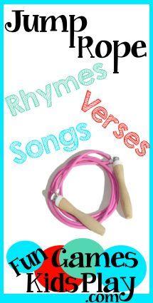 Jump Rope Rhymes, Verses and Songs