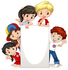 Frame with happy kids on paper Free Vect.