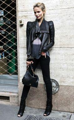 Natasha Poly, black outfit.