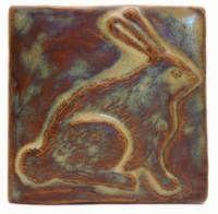 Rabbit 4x4 Ceramic Handmade Tile Autumn Glaze