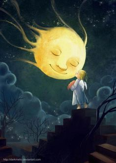 "Good Night Quotes and Good Night Images Good night blessings ""Good night, good night! Parting is such sweet sorrow, that I shall say good night till it is tomorrow."" Amazing Good Night Love Quotes & Sayings Sun Moon Stars, Good Night Moon, Moon Art, Illustration, Fantasy Art, Children Illustration, Painting, Art, Digital Painting"