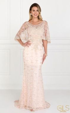 Long Plus Size Cape Sleeve Formal Prom Gown Mob Dresses, Wedding Dresses, Prom Dresses For Sale, Pink Dresses, Formal Dresses, Mother Of The Bride Dresses Long, Bride Gowns, Lace Gowns, Applique Dress