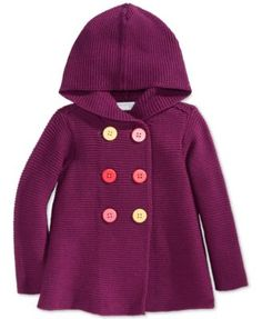 First Impressions Baby Girls' Button-Front Hooded Sweater, Only at Macy's  | macys.com