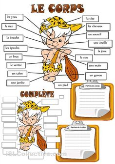 LE CORPS HUMAIN | LES COURS EN L'AIR French Language Lessons, French Language Learning, French Lessons, French Teaching Resources, Teaching French, Gcse French, Learning French For Kids, French Worksheets, French Kids