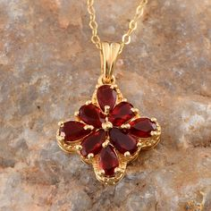Jalisco Cherry Fire Opal Pendant with Chain in 14K Yellow Gold Overlay Sterling Silver (Nickel Free)