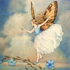 Featuring a beautiful butterfly winged fairy, carefully detailed from the prints on her wings, to each carefully placed flower in her hair, to her softly flowing skirt, down to her shining blue shoes.