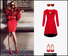 Red total look! #reddress #hills #elegant
