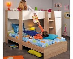 Parisot UK Magellan L Shaped Bunk Bed This great value bunk bed from Parisot comes in a smart Oak and White finish to fit with any bedroom decor. The ladder has solid wide steps for sure access to the top bunk. Parisot give a fun and inv http://www.comparestoreprices.co.uk/bunk-beds/parisot-uk-magellan-l-shaped-bunk-bed.asp