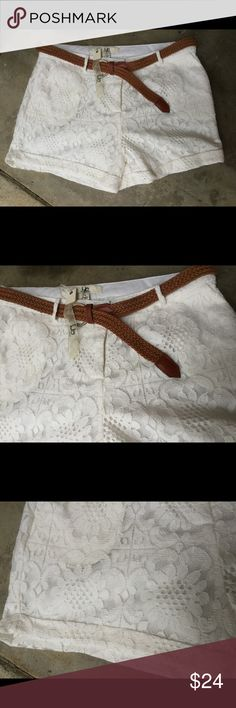 "Ya Los Angeles lined white cotton shirts..NWT Large measures 32"" waist..3"" cuffed inseam comes with leather braided belt .......small measures 28"" waist...2 1/2"" inseam.........medium measures 30"" waist...3"" inseam Ya Los Angeles Shorts"
