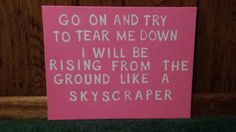 Demi Lovato Skyscraper handmade canvas quote