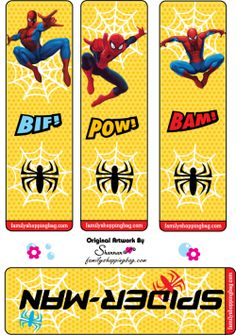 spiderman printable Bookmarks
